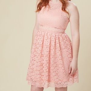 Floral lace midriff dress